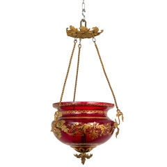 Red Glass Russian Lantern with Gilt Decoration