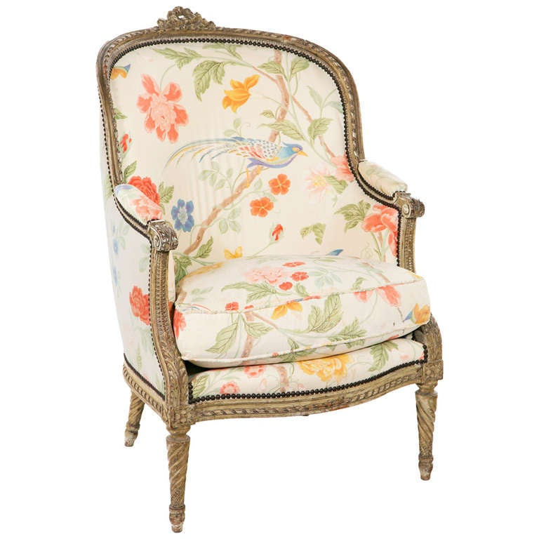 Fantastic Carved French Painted Armchair / Bergere 1