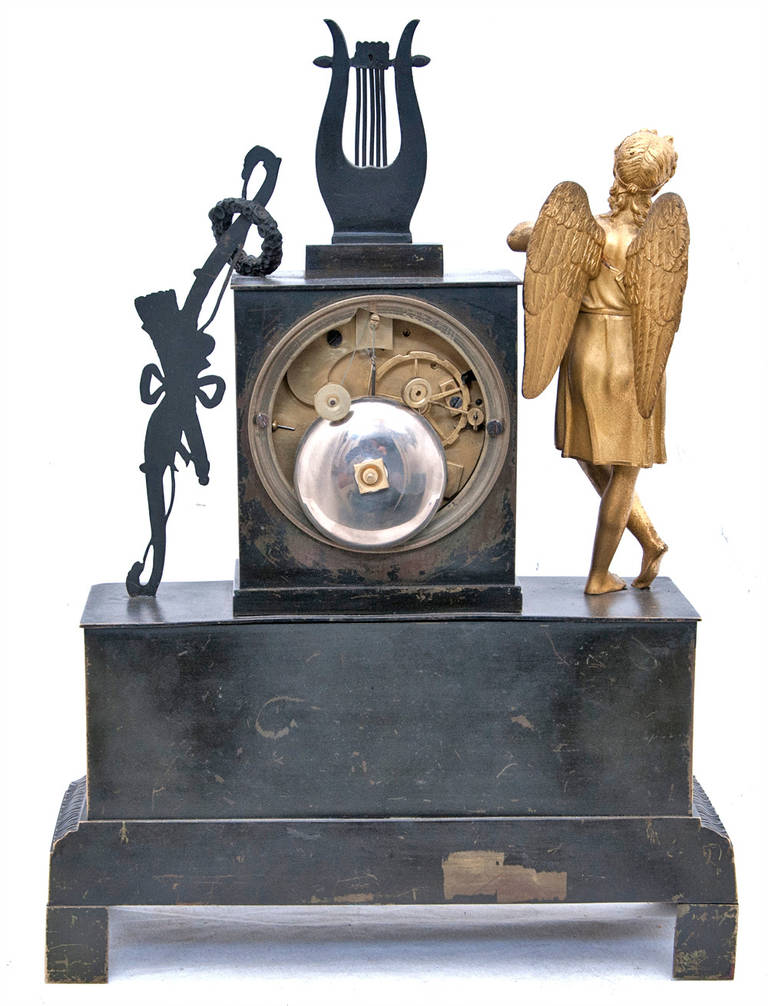 Bronze A 19th century French Empire Mantel Clock For Sale