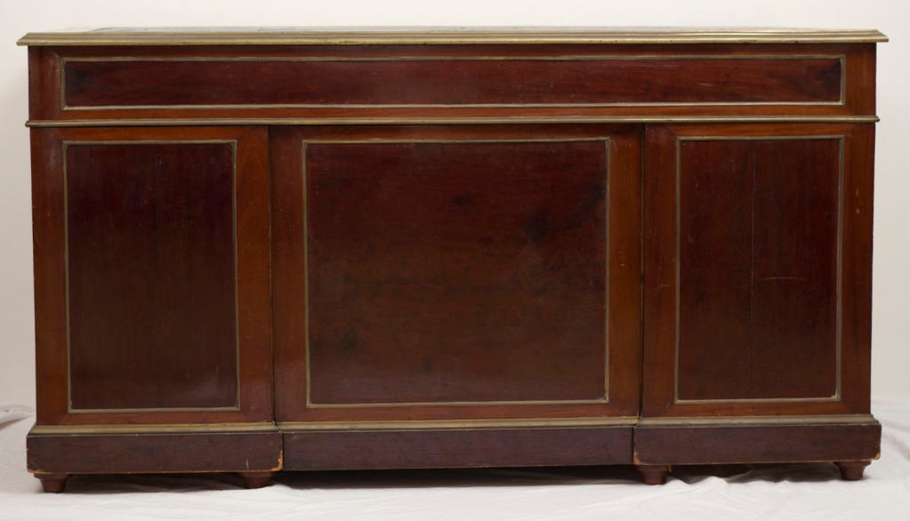 19th Century Late 19th century French Mahogany and Brass Pedestal Desk For Sale