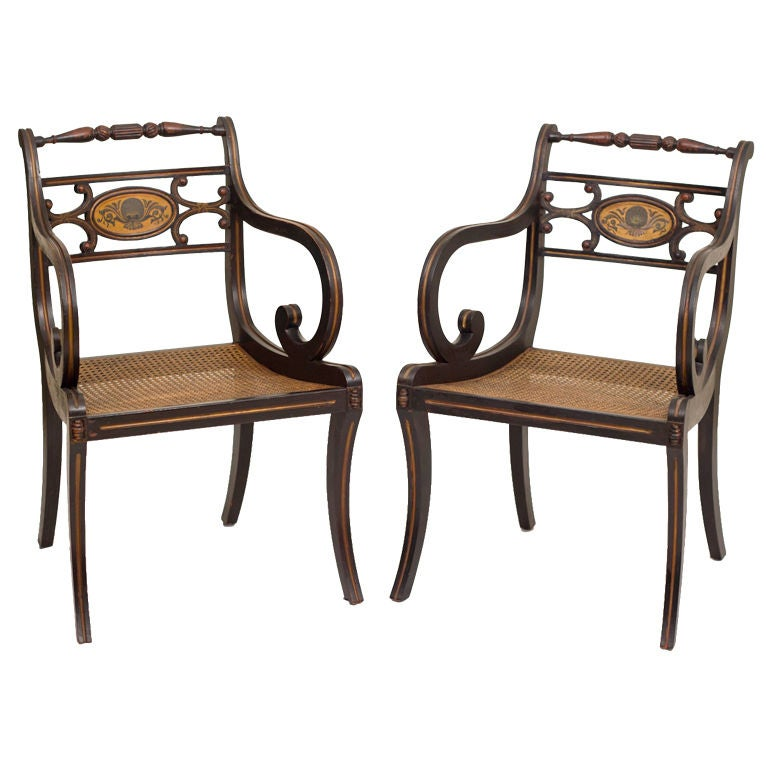 Regency Style Fancy Painted Armchairs, England early 20th century