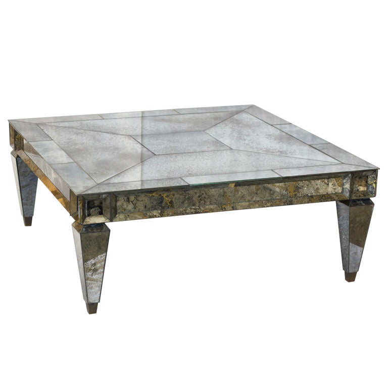 Vintage Square Mirrored Coffee Table At 1stdibs