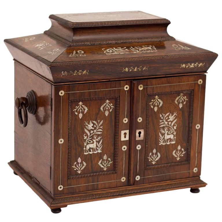 Antique English Rosewood Inlaid Jewelry Box at 1stdibs