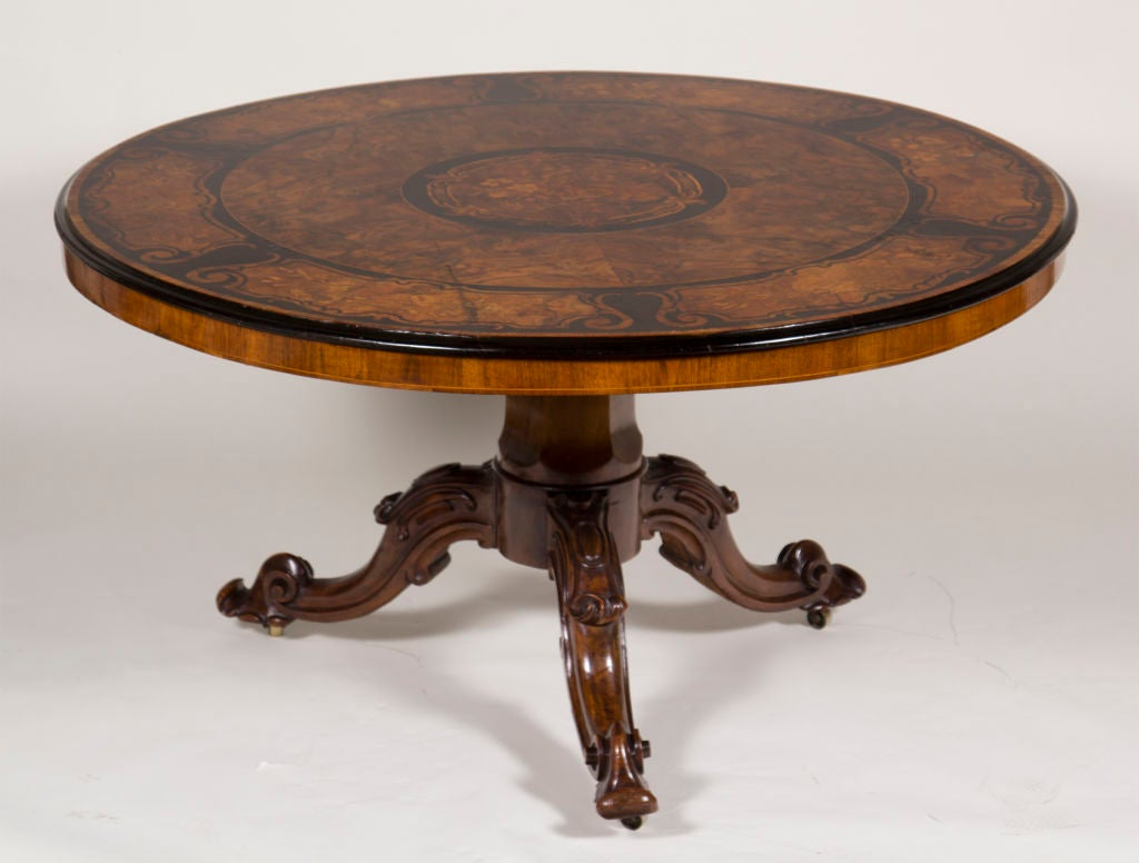 Fantastic large victorian inlaid round center or dining for Furniture centre table