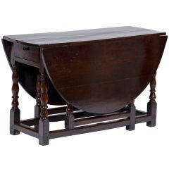Antique English Oak Drop Leaf Table