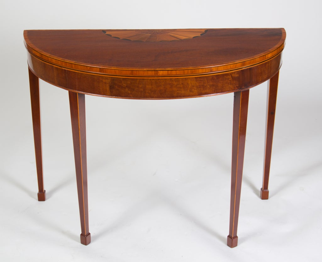 Georgian Inlaid Mahogany Demi Lune Game Table At 1stdibs
