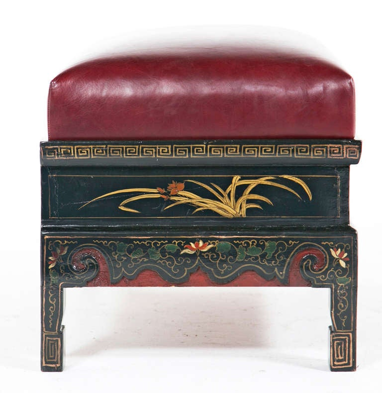 Chinese Lacquered Ottoman At 1stdibs