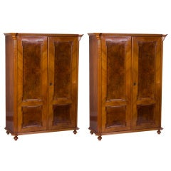 Pair of 19th Century Amboyna and Lemon Wood Armoires or Cabinets