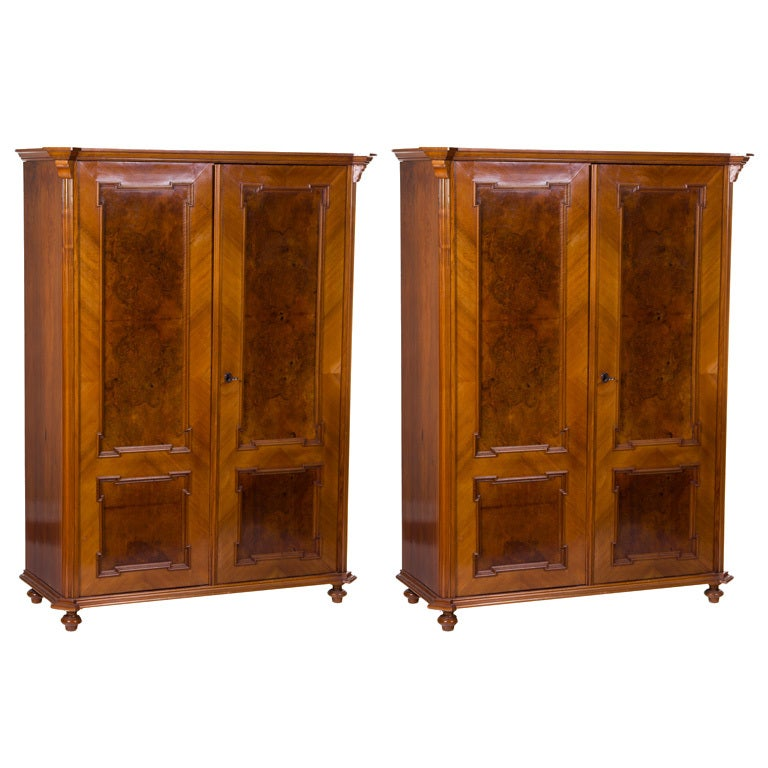 Pair of amboyna and lemon wood armoires cabinets at stdibs