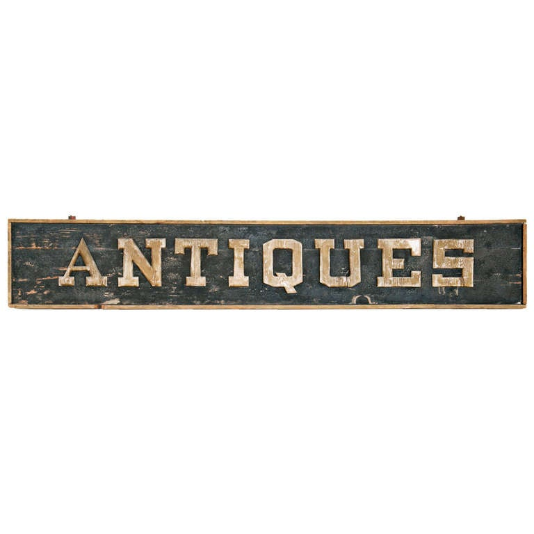 Large Vintage Antiques Store Sign 1
