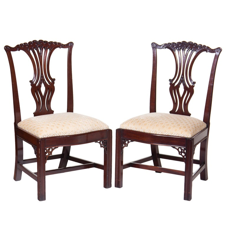 vintage chippendale mahogany chairs at 1stdibs. Black Bedroom Furniture Sets. Home Design Ideas
