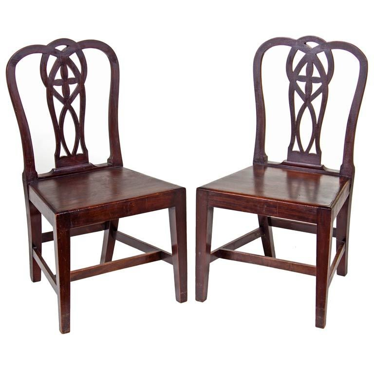 Pair of English Mahogany Chippendale Chairs For Sale