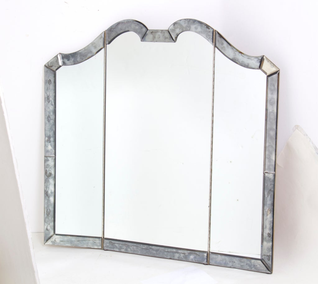 Sophisticated and large vintage vanity mirror at 1stdibs for Large vanity mirror