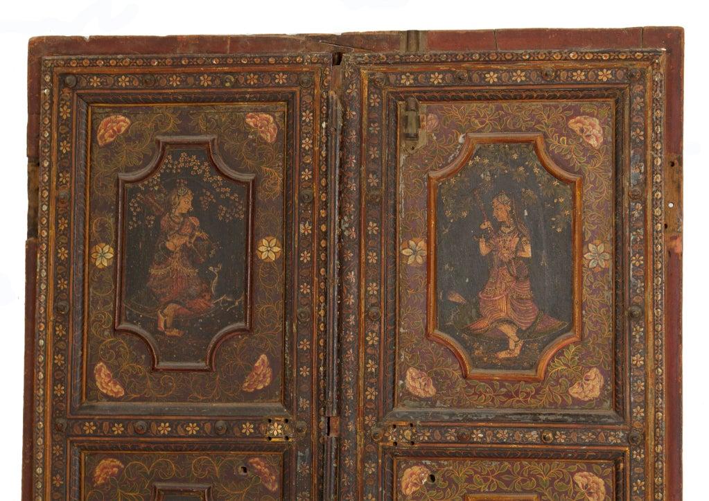 Amazing Rare Pair of Antique Painted Doors image 3