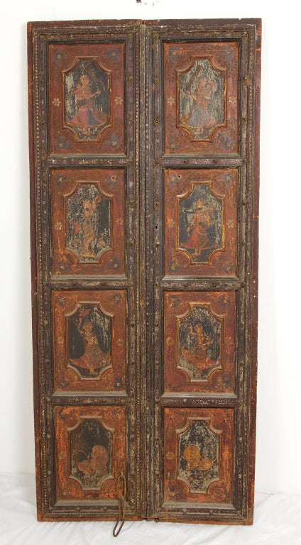 Amazing Rare Pair of Antique Painted Doors image 9