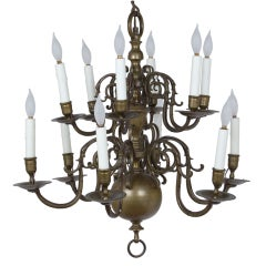 Dutch Baroque Brass Chandelier, late 19th century