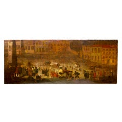 Large Naive Oil Painting of a Festival at Night Spain, circa 1800