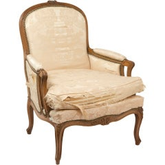 A large painted french armchair and ottoman at 1stdibs for Large comfy armchairs