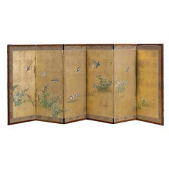 Edo Period Lacquered Screen