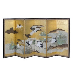 Fine Large Japanese Edo Period Painted Crane Screen, circa 1820