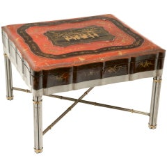 Chinese Lacquered & Gilt Robe Box on later stand c 1850