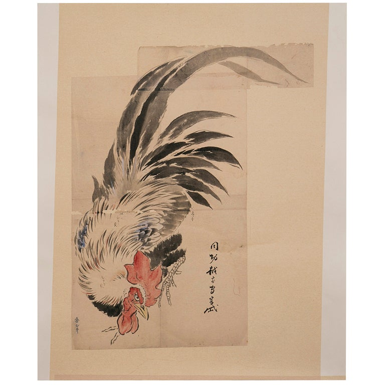 Rooster painting at 1stdibs