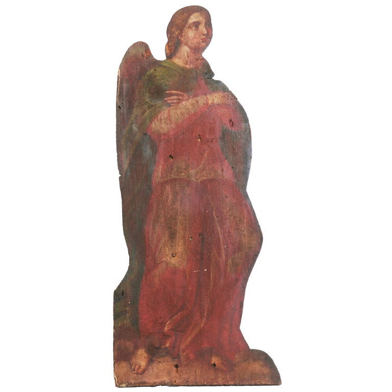 Old Painted Angel on Board For Sale