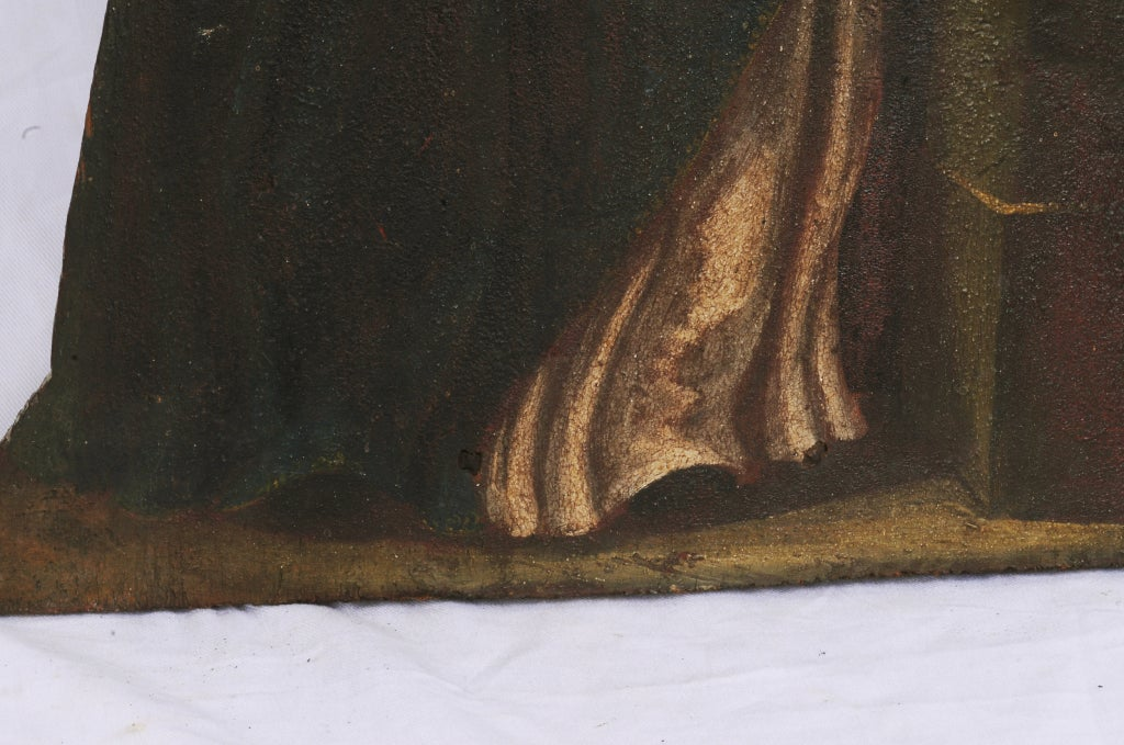 Rustic Painted Noble Saint on Board For Sale