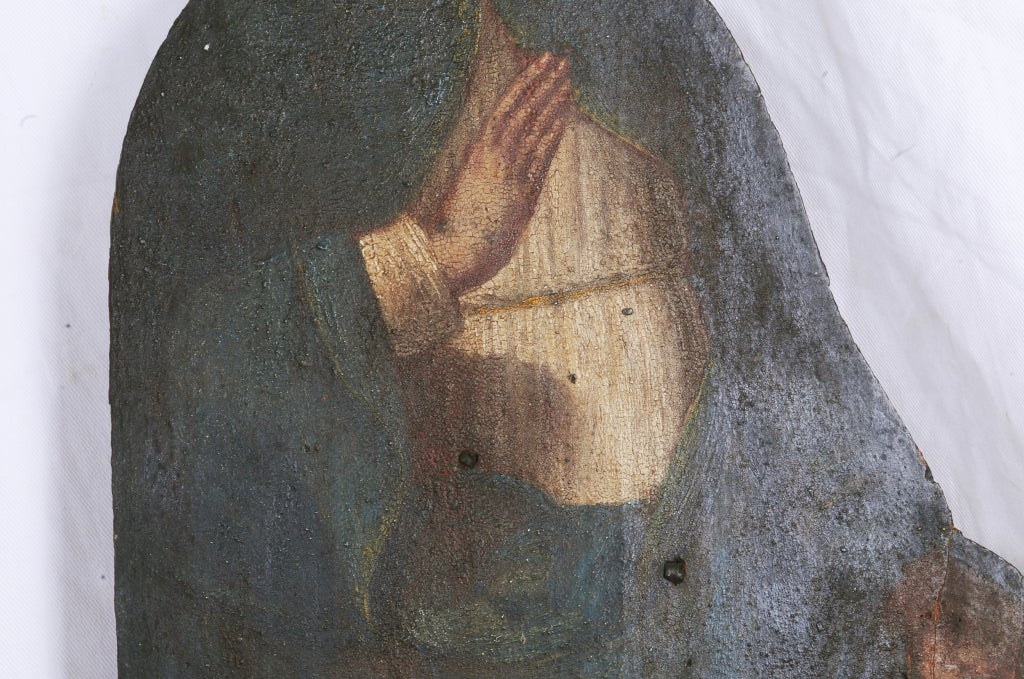 Italian Painted Noble Saint on Board For Sale