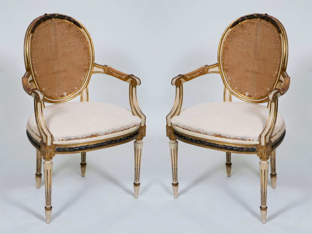 Pair of Painted and Gilt French Chairs 2
