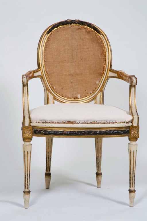 Pair of Painted and Gilt French Chairs 7
