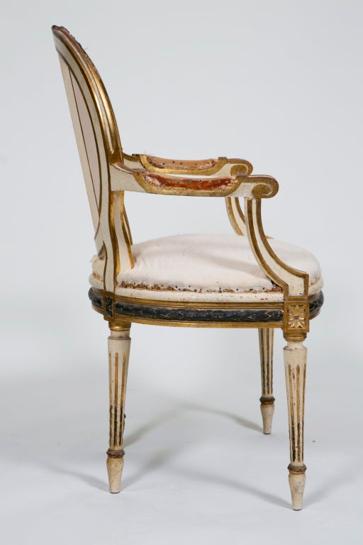 Pair of Painted and Gilt French Chairs 8