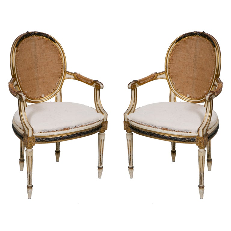 Pair of Painted and Gilt French Chairs 1