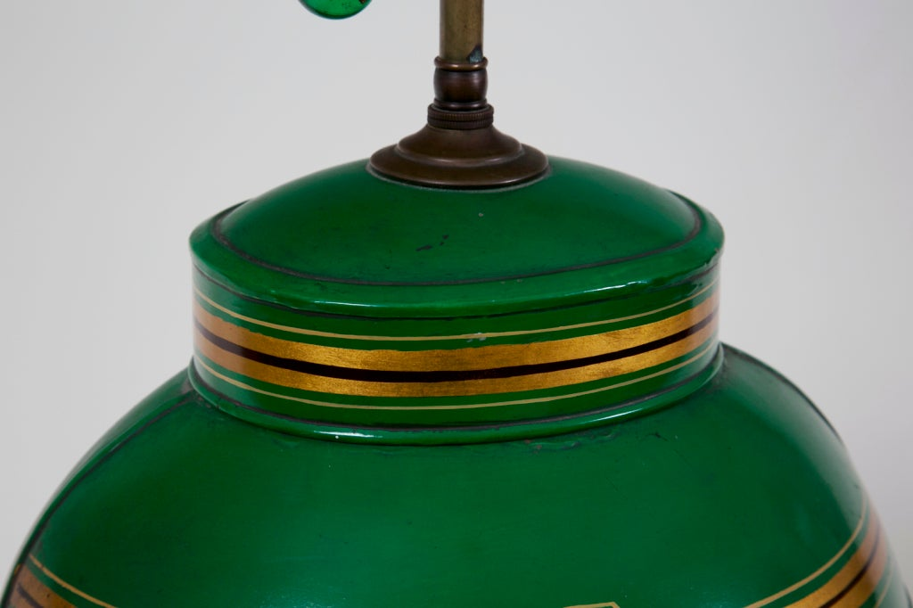 Mid-20th Century Apple Green Tea Canister / Lamp #1 For Sale