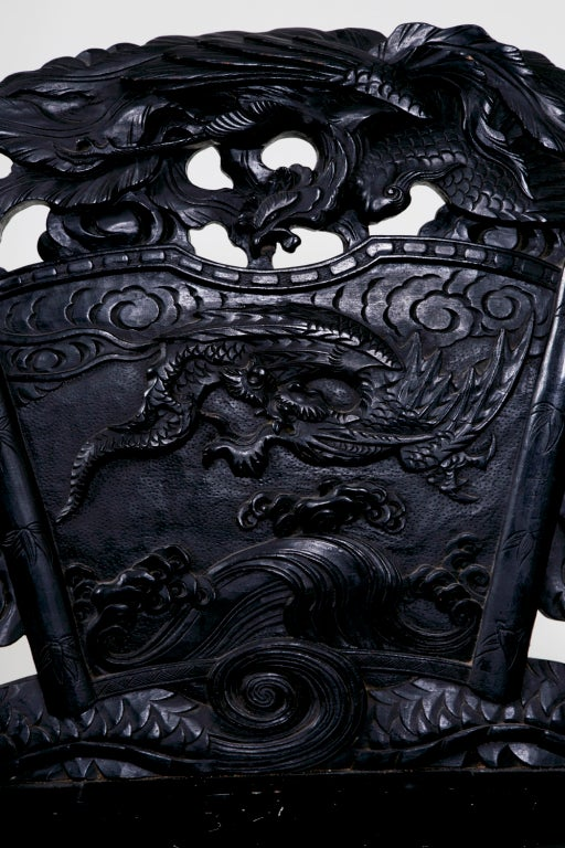 Japonisme Lacquered Dragon Bench China or Japan c. 1890 For Sale