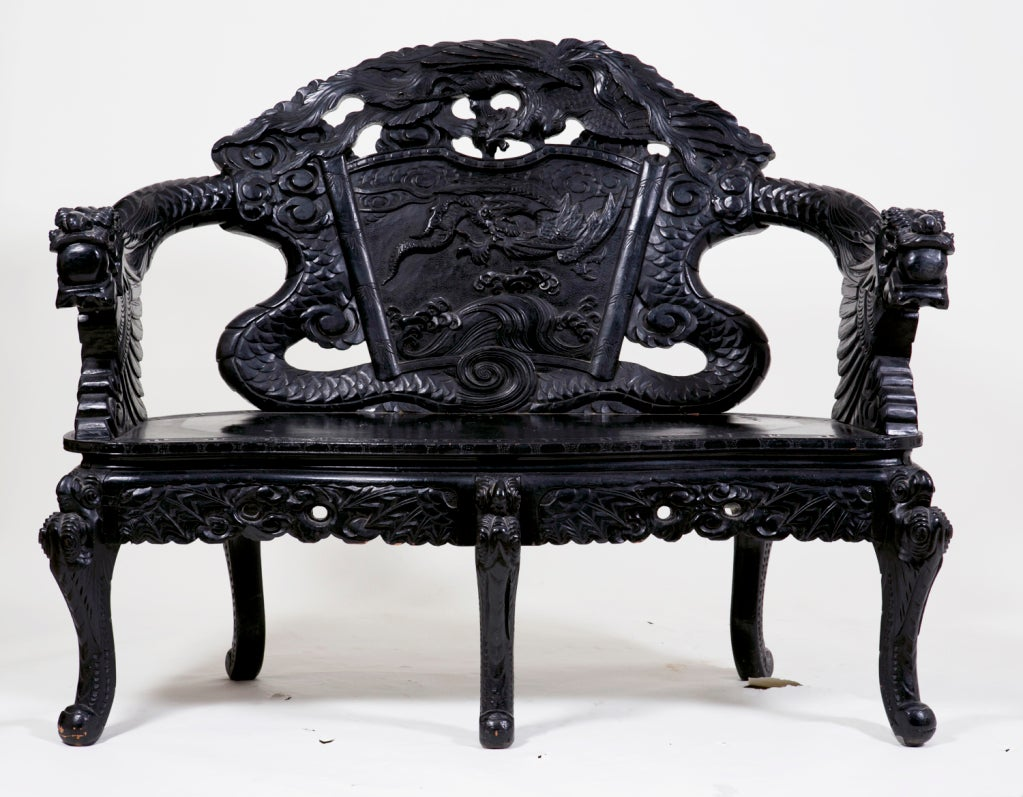 Wood Lacquered Dragon Bench China or Japan c. 1890 For Sale