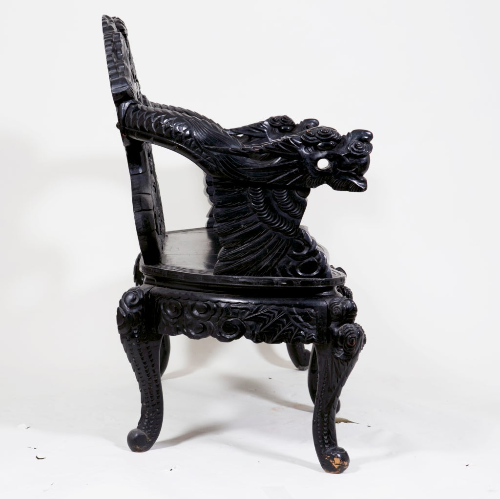 Lacquered Dragon Bench China or Japan c. 1890 For Sale 1