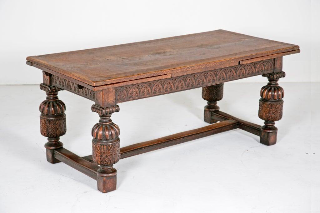 Elizabethan Style Draw Leaf Table Circa 1900 3
