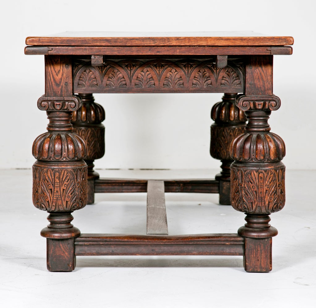 Elizabethan Style Draw Leaf Table Circa 1900 For Sale At