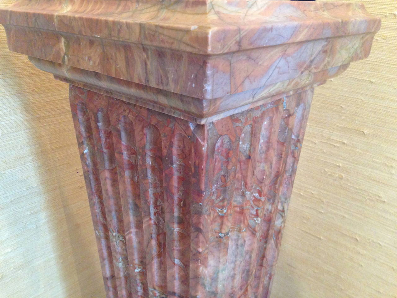 Carved French Violette Marble Pedestal, circa 1860 For Sale