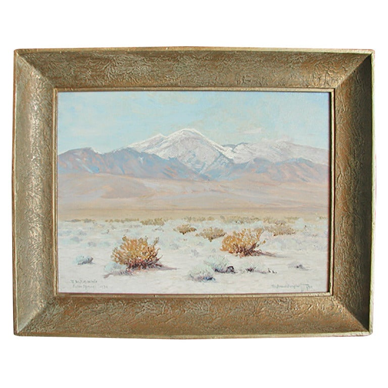 "Oil on canvas of palm springs with snow cap peaks in the distance signed lower right corner Ferdinand Burgdorff (1881–1975), with dedication to a ""Dr. F. M. White, Palm Springs."" In original silver gilt frame, circa 1932."