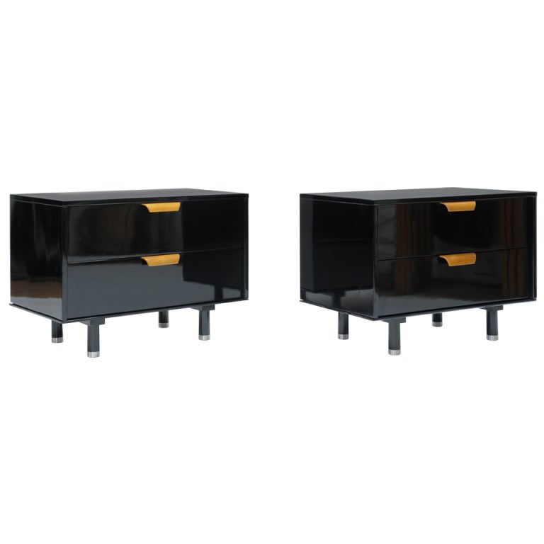 Handsome Black Lacquer Night Stands At 1stdibs