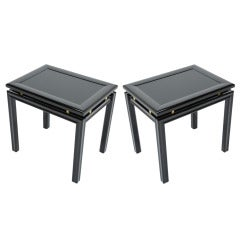 Pair of Leather Inlaid and Brass End Tables in the Manner of Paul Laszlo