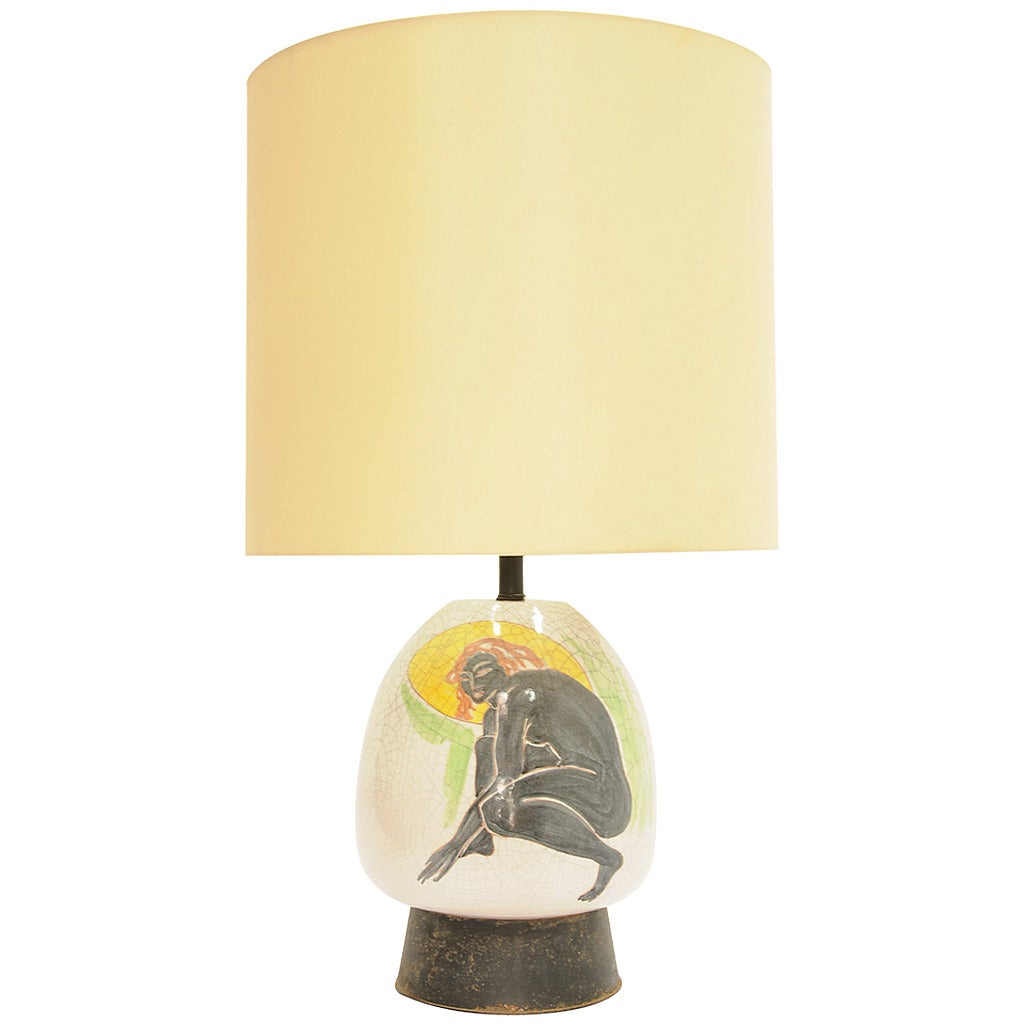 Monumental Ernestine Hand-Painted Lamp For Sale