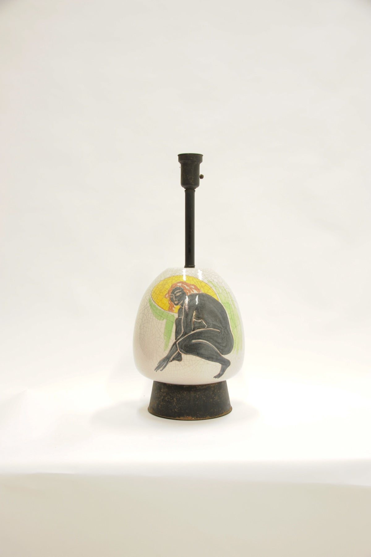Mid-Century Modern Monumental Ernestine Hand-Painted Lamp For Sale