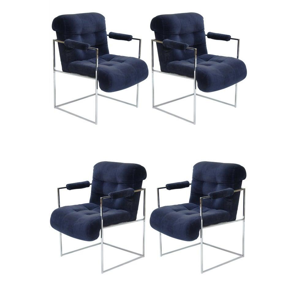 Set of Four Milo Baughman Armchairs For Sale