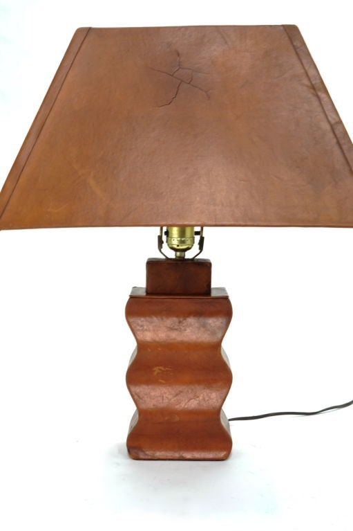 Custom Paul Laszlo Leather Clad Lamp At 1stdibs