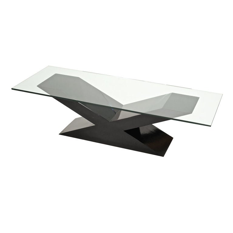 James Mont Custom Signed X Base Coffee Table At 1stdibs