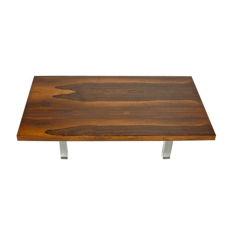 Milo Baughman For Thayer Coggin Rosewood And Lucite Coffee Table At 1stdibs