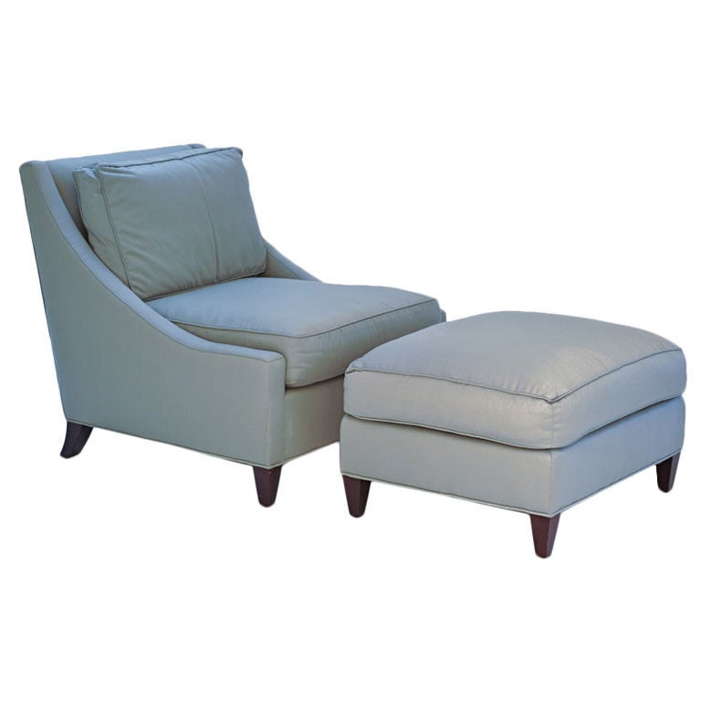 Barbara Barry For Baker Lounge Chair And Ottoman For Sale